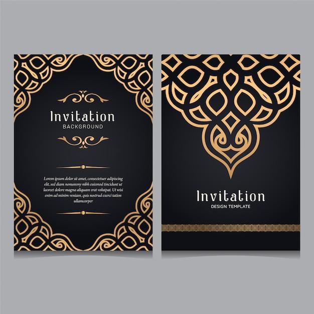 Einladungsschablone der dekorativen hochzeit des luxusgoldes, grußkarteneinladungsverzierungen. Premium Vektoren