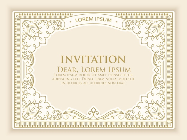 Einladungsschablone mit eleganter weinlesedekoration Kostenlosen Vektoren