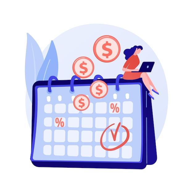 Einlagenzinsen, rentable anlage, festverzinsliche wertpapiere. regelmäßige zahlungen, wiederkehrende geldeingänge. geldempfänger mit kalenderzeichentrickfigur Kostenlosen Vektoren