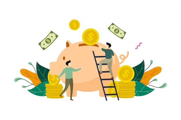 Einsparungsgeld mit sparschweinkonzeptillustration Premium Vektoren