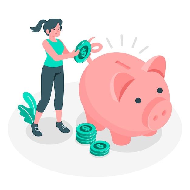 Einsparungskonzeptillustration Kostenlosen Vektoren