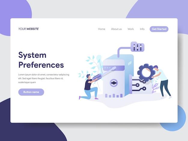 Einstellung der systemeinstellungen für webseiten Premium Vektoren