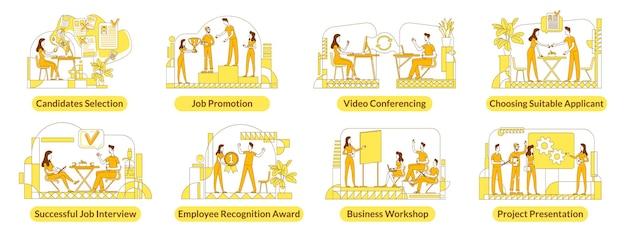 Einstellung flache silhouette s gesetzt. mitarbeiter des unternehmens. Premium Vektoren