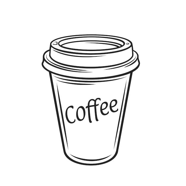 Einweg pappbecher kaffee umriss Premium Vektoren