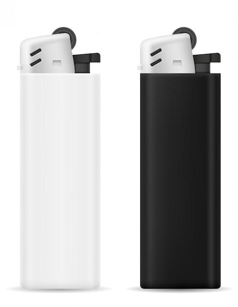 Einwegfeuerzeug aus kunststoff. Premium Vektoren