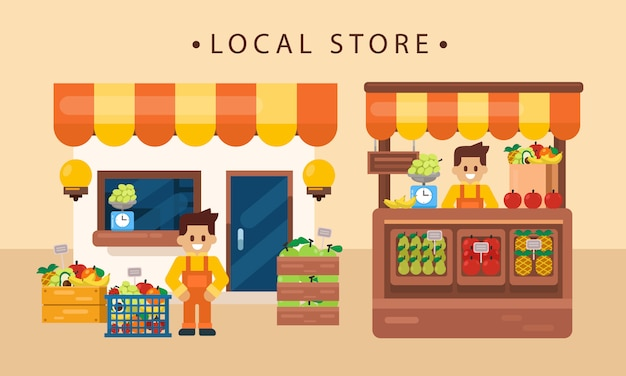 Einzelhandelsgeschäftskonzept, lokales fruchtprodukt mit ladenbesitzer, ladenfront. flache vektor-illustration Premium Vektoren