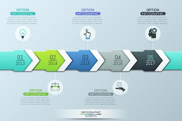 Einzigartige infografik-design-vorlage, 5 mehrfarbige überlappende pfeile mit jahresangabe Premium Vektoren