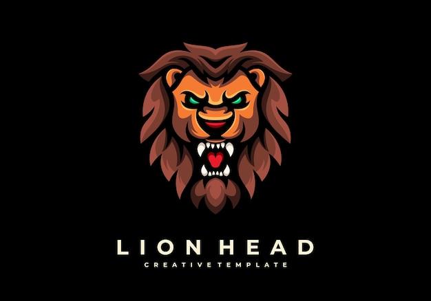 Einzigartige kreative löwenkopf-maskottchen-logo-vorlage Premium Vektoren