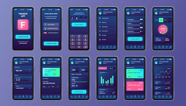 Einzigartiges design-kit für finanzdienstleistungen für mobile apps. online-banking-bildschirme mit finanzkonto und analyse. benutzeroberfläche für geldkontrolle und -verwaltung, ux-vorlagen. gui für reaktionsschnelle mobile anwendungen. Premium Vektoren