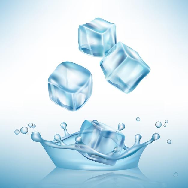 Eis spritzt würfel. gefrieren sie wasserpfützen und kristallklaren eiswürfelvektor realistischen hintergrund Premium Vektoren