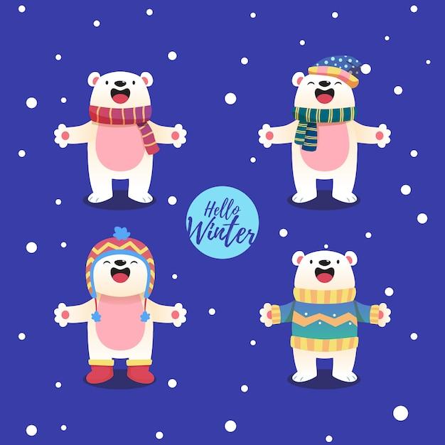 Eisbär-cartoon-figur mit einem winterthema Premium Vektoren