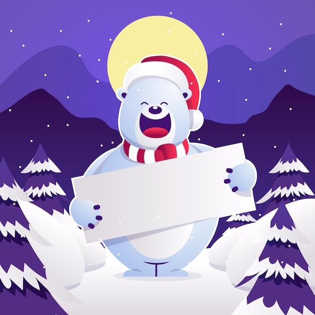 Eisbär, der weihnachtsfahne hält Kostenlosen Vektoren
