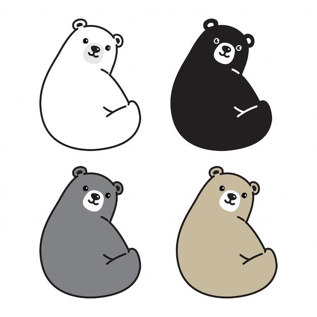 Eisbär sitzend cartoon Premium Vektoren