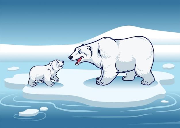 Eisbär und ihr junges, das oben auf dem eis steht Premium Vektoren