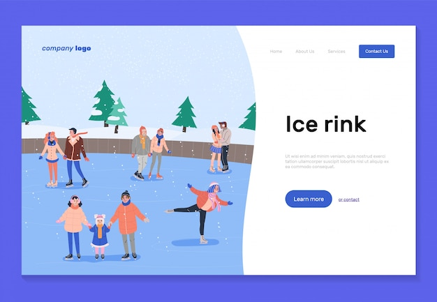 Eisbahn landing page vorlage Premium Vektoren