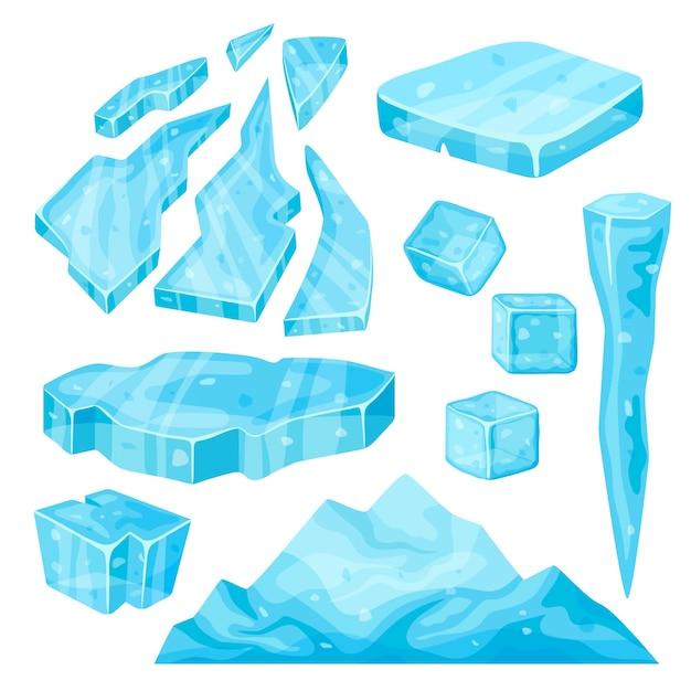 Eisberg, eiszapfen, eiswürfel und bruchstücke. Premium Vektoren