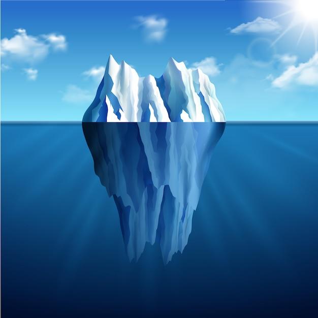 Eisberg-landschaftsillustration Kostenlosen Vektoren