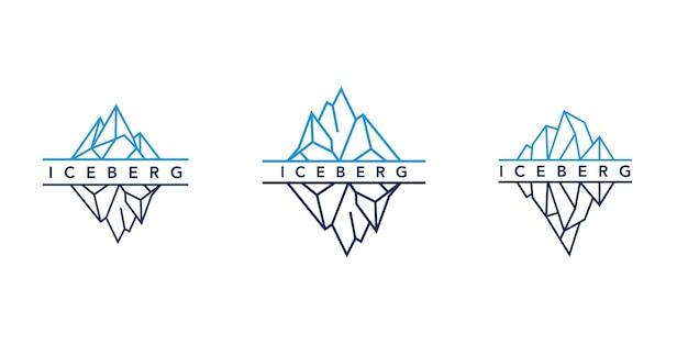 Eisberg- oder eisberg-logoentwurf mit einfachem strichgrafikstil Premium Vektoren