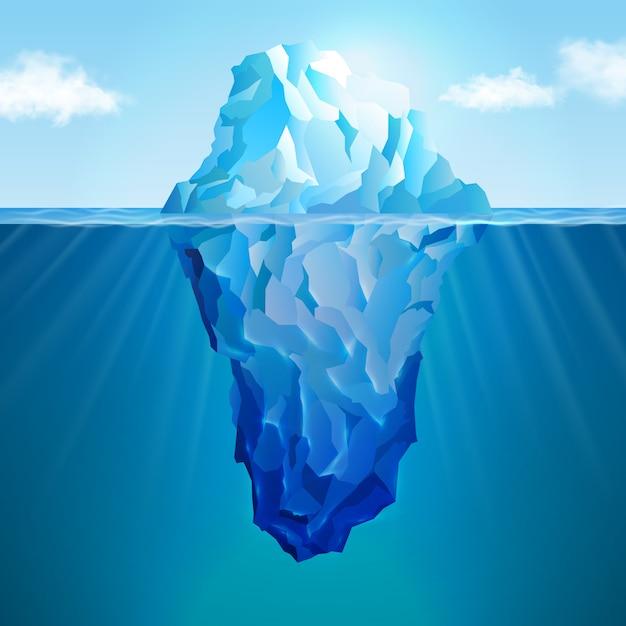 Eisberg realistisches konzept Premium Vektoren