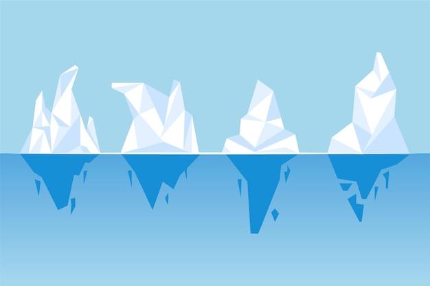 Eisberg sammlung naturkonzept Kostenlosen Vektoren