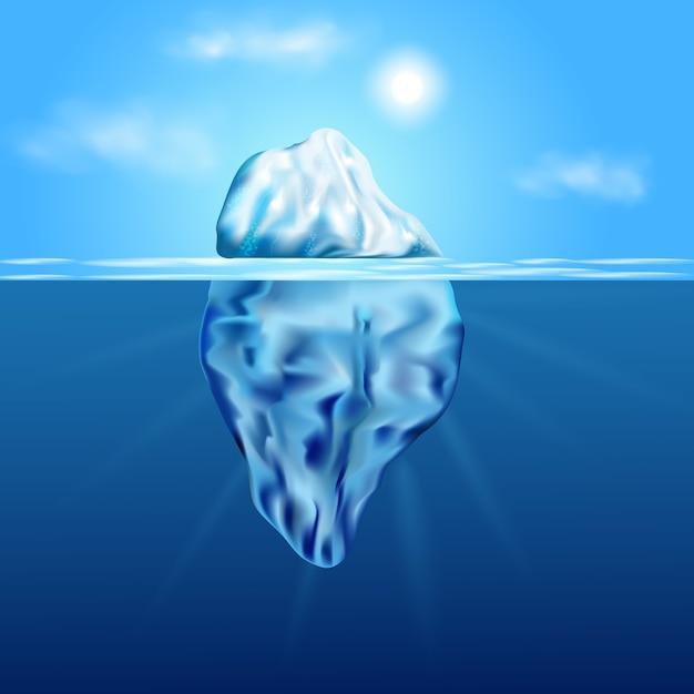 Eisberg schwimmt zwischen eis. in der arktischen landschaft mit blauem reinem wasser und schneehügeln. Premium Vektoren
