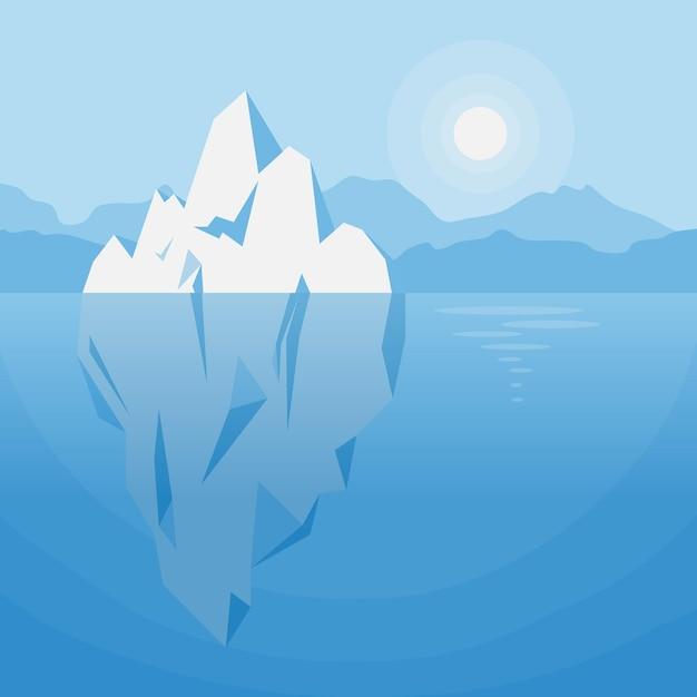 Eisberg unter wasser illustration Kostenlosen Vektoren