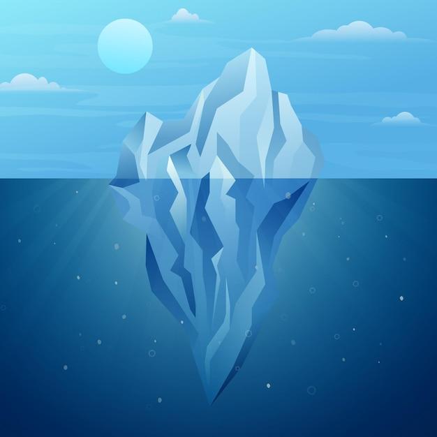 Eisbergillustration im ozean Kostenlosen Vektoren