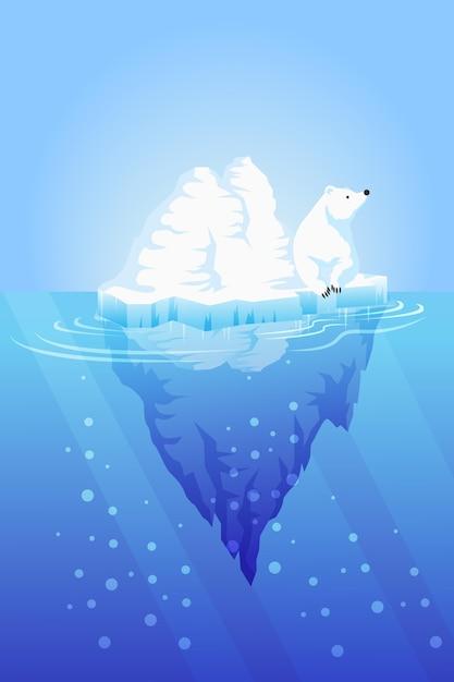 Eisbergillustration mit eisbär Kostenlosen Vektoren