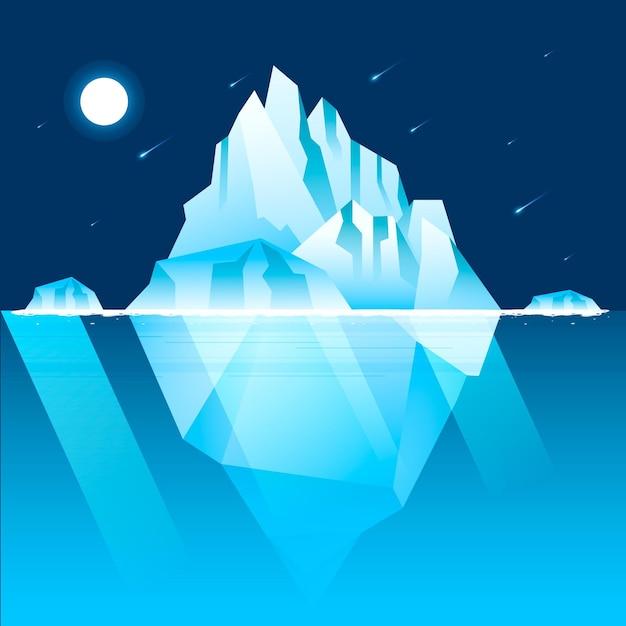 Eisbergillustration mit nachthimmel und sternschnuppen Kostenlosen Vektoren