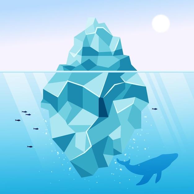 Eisbergillustration mit wal und fisch Kostenlosen Vektoren