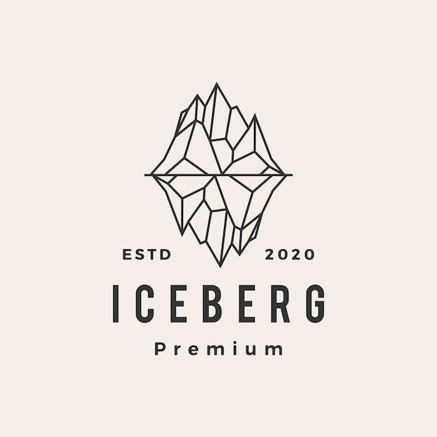 Eisbergmontage vintage logo symbol illustration Premium Vektoren