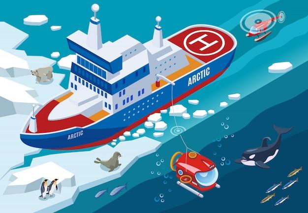 Eisbrecher mit unterseeboot und hubschrauber während der isometrischen illustration der nordseetiere der arktischen forschung Kostenlosen Vektoren