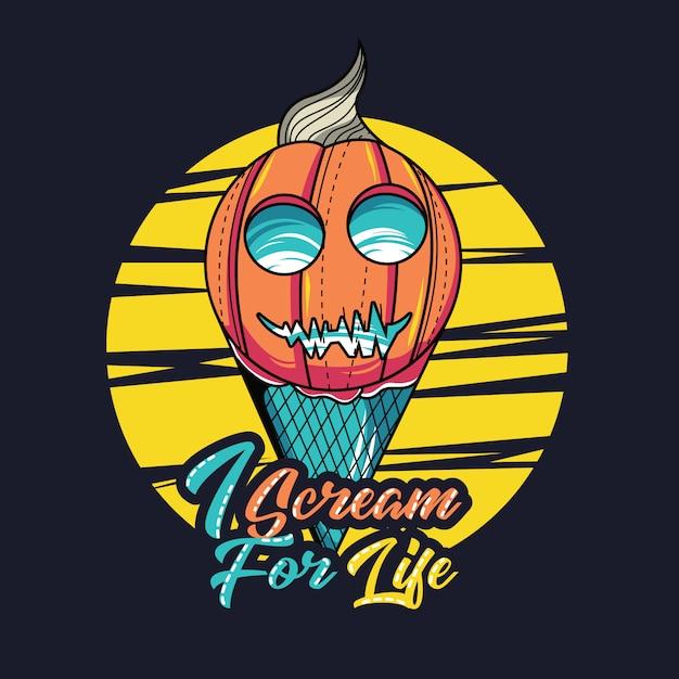 Eiscreme mit halloween-thema Premium Vektoren