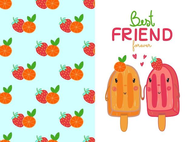 Eiscreme und erdbeere und orange nahtloses muster Premium Vektoren