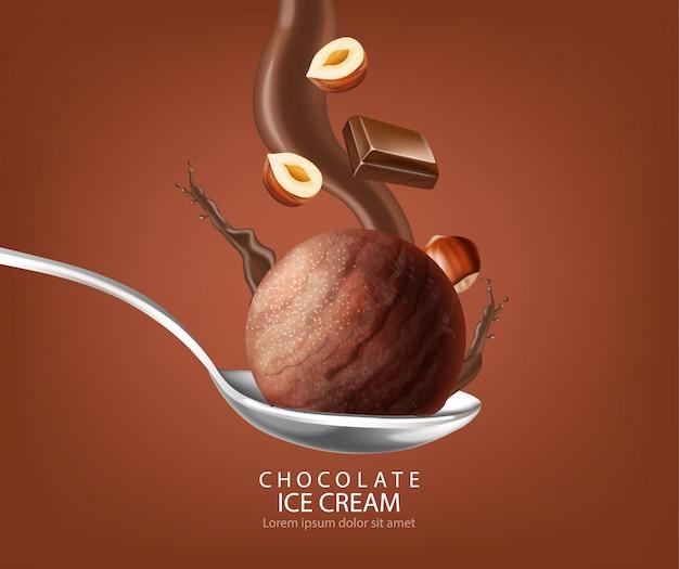 Eiscremeball-schokoladenspritzen Premium Vektoren