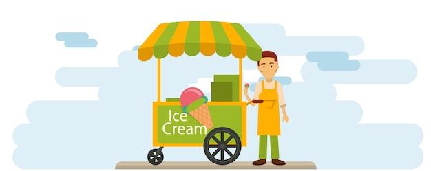 Eiscremeverkäufer auf der im stadtzentrum gelegenen straße Premium Vektoren