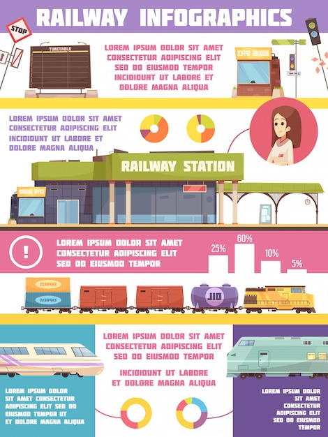 Eisenbahn infografiken flache vorlage Kostenlosen Vektoren