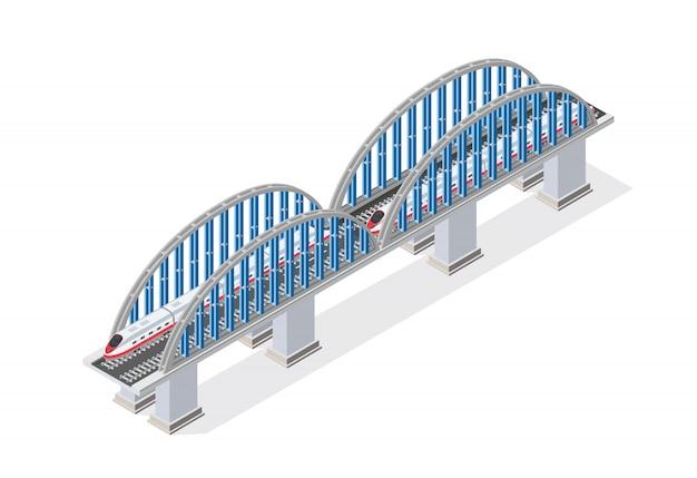 Eisenbahn isometrische brücke mit eisenbahn und hochgeschwindigkeit Premium Vektoren