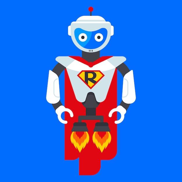 Eisenroboter superheld. charakter aus der zukunft. science-fiction-helden. flache vektor-illustration. Premium Vektoren