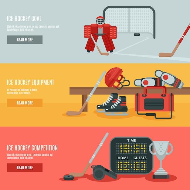 Eishockey-banner-set Kostenlosen Vektoren