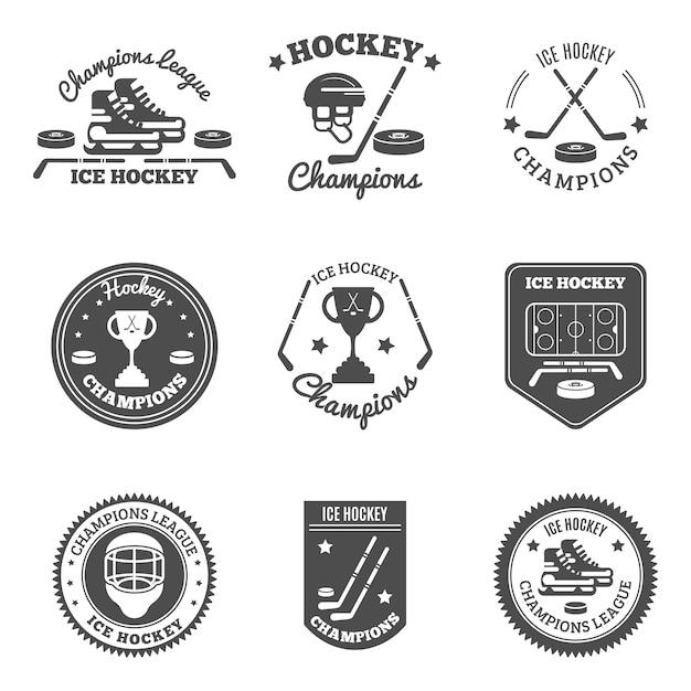 Eishockey-etiketten-set Kostenlosen Vektoren