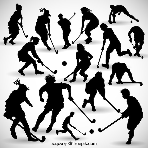 Eishockeyspieler silhouetten packen Kostenlosen Vektoren