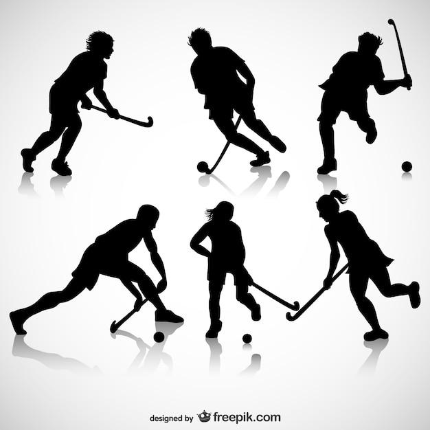 Eishockeyspieler silhouetten Kostenlosen Vektoren