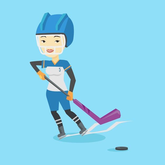 Eishockeyspieler-vektorillustration. Premium Vektoren