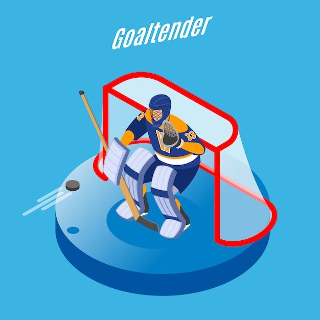 Eishockeytorwart in der vollen ausrüstung, die ziel mit rundem isometrischem zusammensetzungsblau des stockes schützt Kostenlosen Vektoren