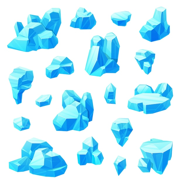 Eiskristalle karikatursatz gefrorenes wasser. Premium Vektoren