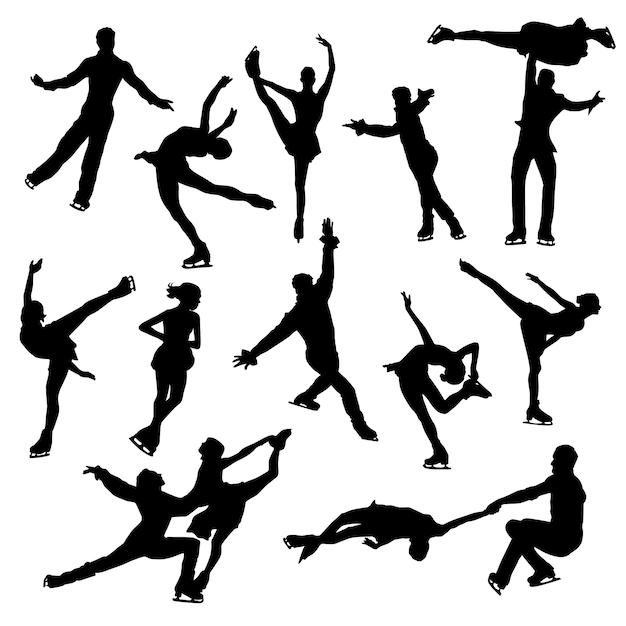 Eislaufen sport beauty clipart symbol silhouette vektor Premium Vektoren