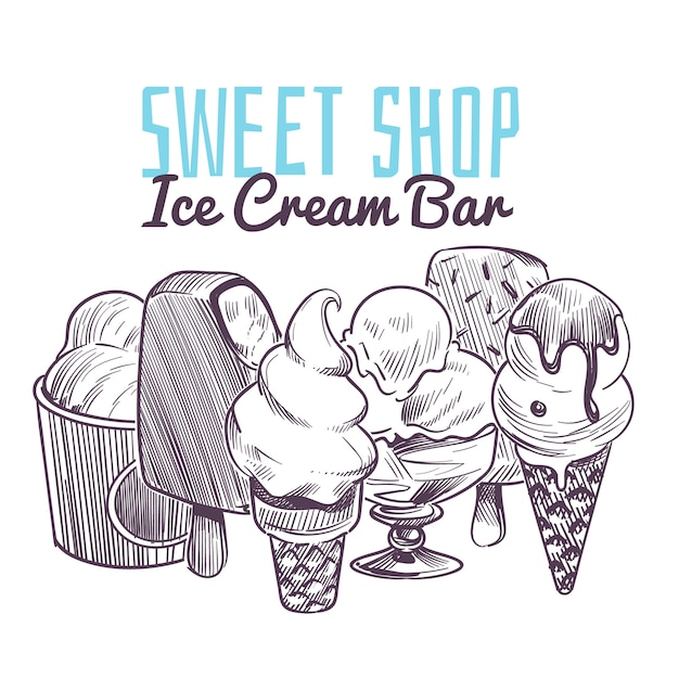 Eisskizzenhintergrund. hand gezeichnete gefrorene cremige desserts, waffelkegel eisbecher schokoladenglasur früchte nüsse retro-menü Premium Vektoren