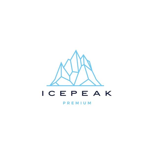 Eisspitzenbergsteingebirgsabenteuer icepeak geometrische logolinie kunstentwurf Premium Vektoren