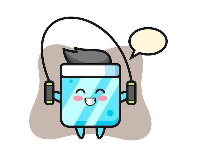 Eiswürfel-charakter-karikatur mit springseil Premium Vektoren